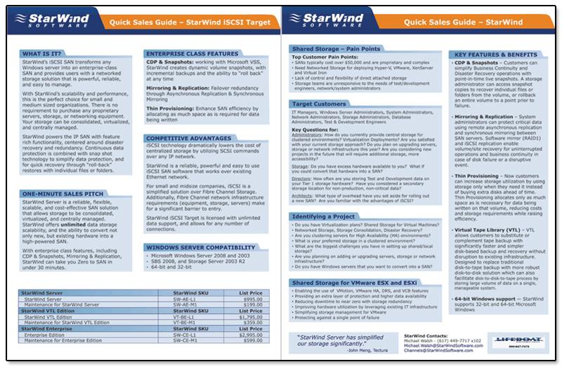 StarWind Software Spec Sheet