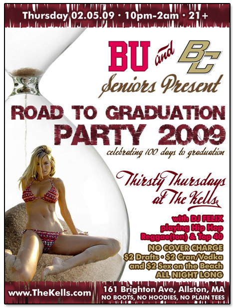 Wonder Bar BU BC 100 Days to Graduation Flier