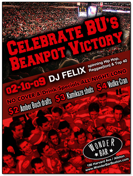 Wonder Bar Boston University Beanpot Flier