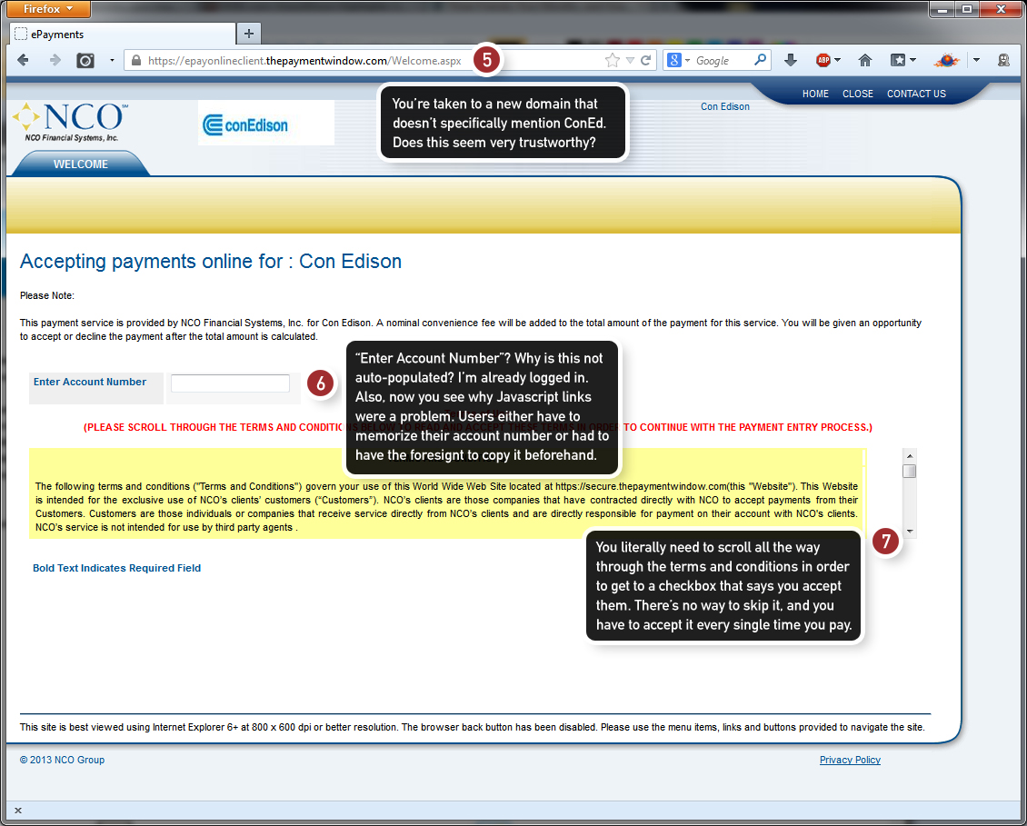 Step 2 of the online payment system of ConEd