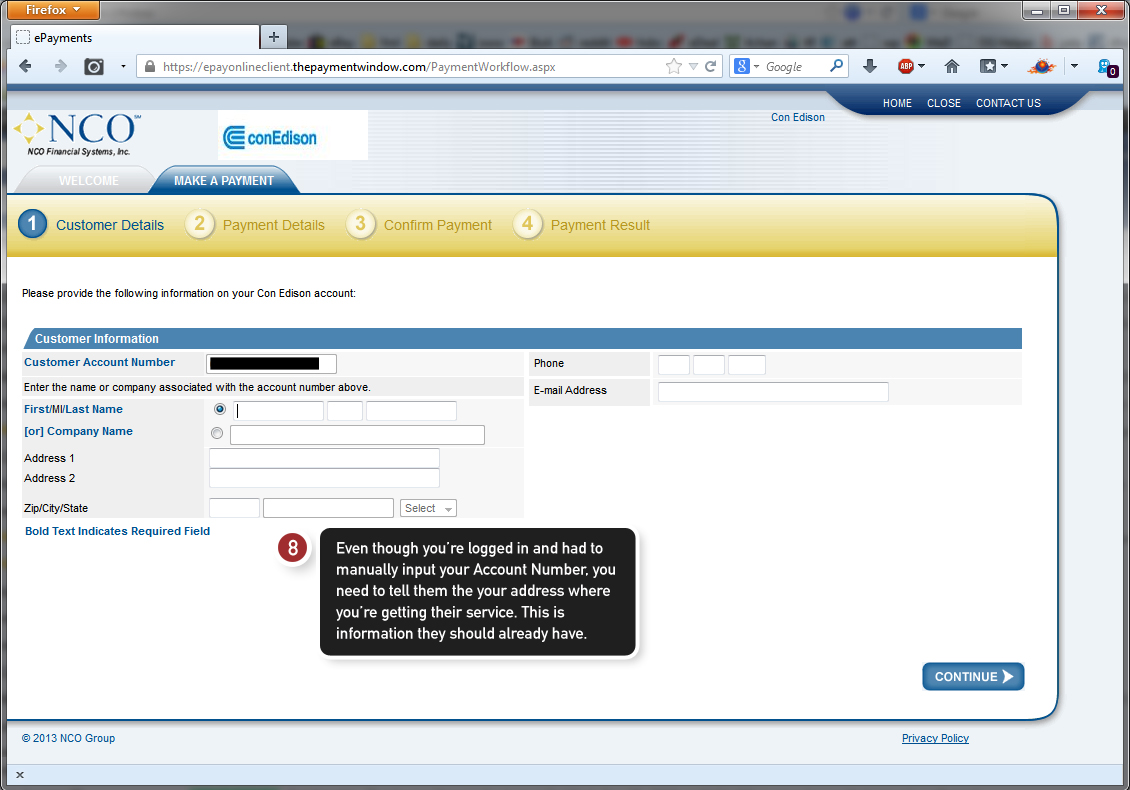 Step 3 of the online payment system of ConEd