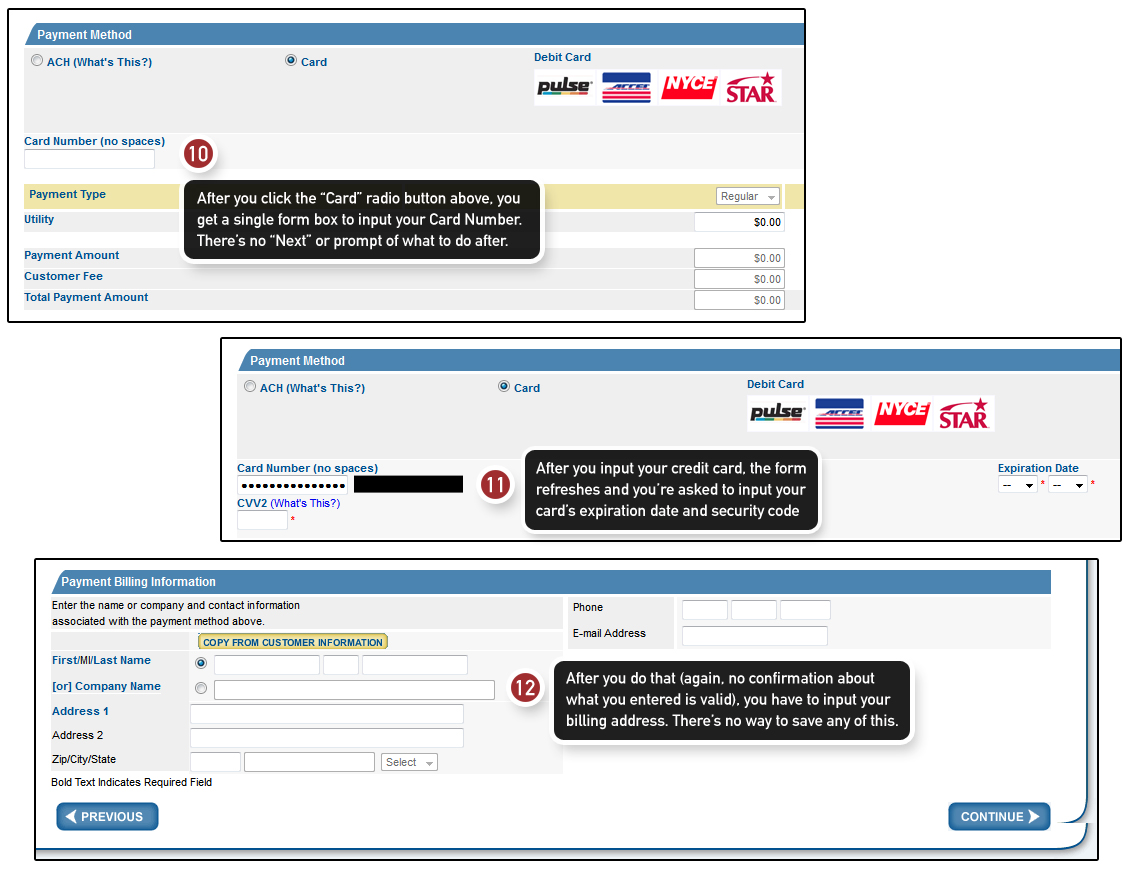 Step 4a of the online payment system of ConEd