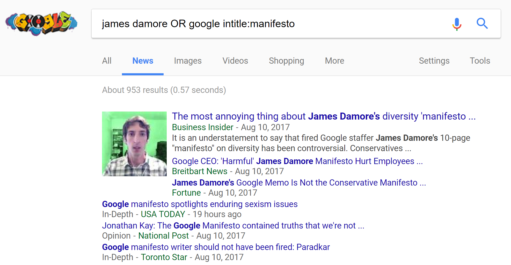 Google News results for James Damore Manifesto