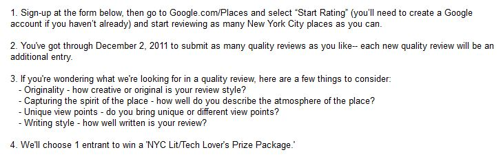 Google Places Contest Rules