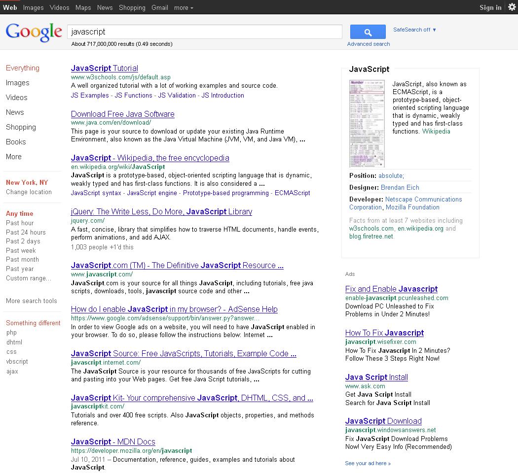 New Google Sidebar - Javascript