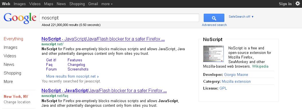 New Google Sidebar - noscript