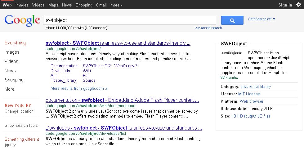 New Google Sidebar - SWFObject