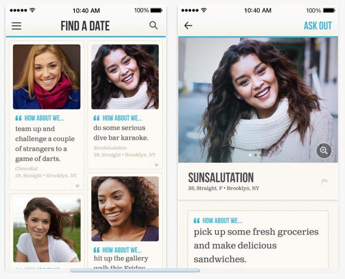 Screenshots of the HowAboutWe App