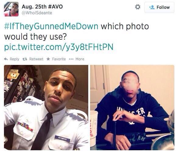 An example from Twitter of the #iftheygunnedmedown hashtag