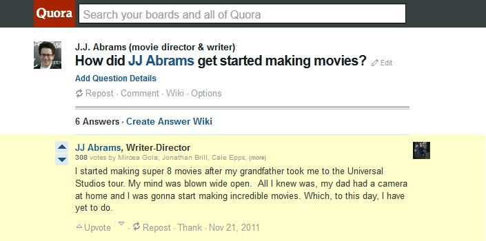 JJ Abrams answering questions on Quora