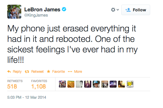 LeBron James' now deleted Tweet