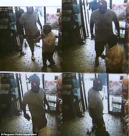 Security footage of Michael Brown allegedly committing a robbery
