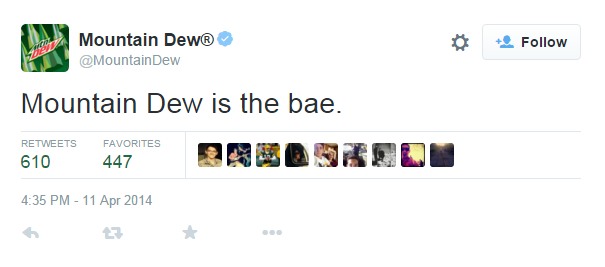 Mountain Dew saying Bae on Twitter