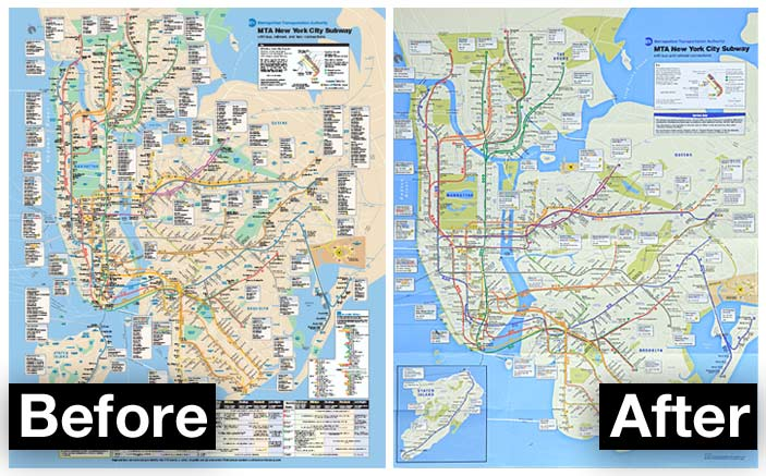 Subway map redesign (before and after)