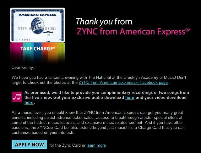 The National AMEX ZYNC promo email
