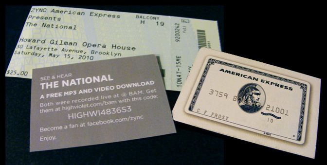 AMEX ZYNC promotional materials for The National at BAM