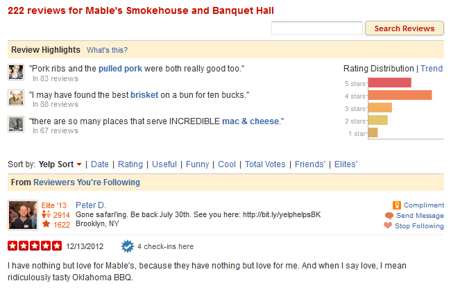 Yelp Review of Mable's from Peter D